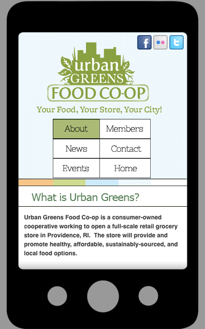 urban greens site mobile view